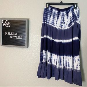 Navy Blue & White Tiered Tie Dyed Middi Skirt XL